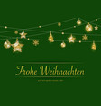 hanging golden christmas decoration on green vector image