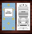 happy birthday stationery with borders and icons vector image