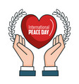 international peace day hands heart poster vector image