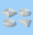 isometric set mazes in form a square vector image