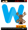 letter w with windmill cartoon vector image vector image