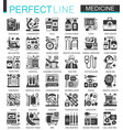 medical and healthcare black mini concept icons vector image