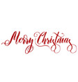 merry christmas red lettering on white background vector image vector image