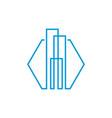 Modern line art city logo template city skyline