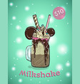 monstershake in cartoon style crazy milkshake vector image vector image