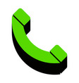 phone sign green 3d icon vector image vector image