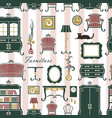 seamless home interior pattern vector image