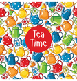 Seamless pattern tea time vector image
