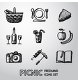 Set of handdrawn picnic icons vector image vector image