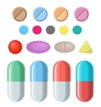 Set of pills and capsules vector image vector image