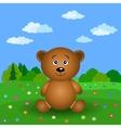 Teddy bear on a summer flower meadow vector image vector image