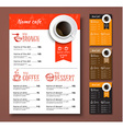 templates different colors coffee menu vector image vector image