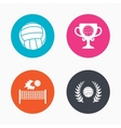 Volleyball and net icons Winner award cup vector image vector image