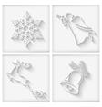 White Long Shadows Christmas Icons vector image
