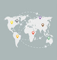global logistic grey map with colorful indications vector image