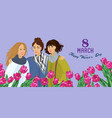 8 march womens with red flowers tulips vector image