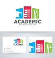 Academic logo with business card template vector image vector image