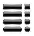 black glass buttons menu interface elements set vector image vector image