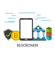 blockchain mobile bank bitcoin security protection vector image vector image