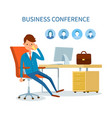 business conference man talking on phone icons vector image