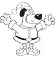 Cartoon dog wearing an elf costume vector image