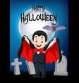 cartoon funny vampire with halloween background vector image vector image