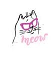 cat handmade scribble calligraphy vector image vector image
