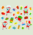 christmas stickers with cute santa clause and vector image