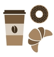 coffee donut and croissant vector image vector image