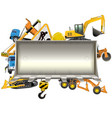 construction frame with bulldozer shovel vector image vector image
