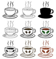 Cup Of Tea and Coffee Hand drawn set vector image