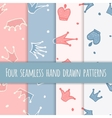 Cute hand drawn blue and pink seamless pattern vector image vector image