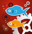 Fish and Cogs - Gears vector image vector image