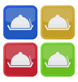 four square color icons serving tray with lid vector image vector image