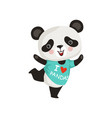 funny little panda in dancing action adorable vector image vector image