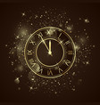 golden clock dial with roman numbers five minutes vector image vector image