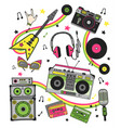 hand drawn set retro musical equipment record vector image vector image