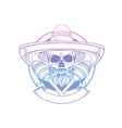 hand drawn sketch skull with maracas vector image vector image
