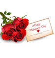 happy valentine day card with red roses realistic vector image vector image