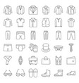 male clothes and accessories thin line icon set 3 vector image vector image