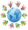 painting color hands around the world vector image vector image