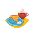 pancake with sour cream folded into triangle on vector image