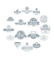 pizzeria logo icons set simple style vector image vector image