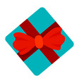 red ribbon blue gift box icon flat style vector image vector image
