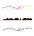 Sarasota skyline linear style with rainbow vector image vector image