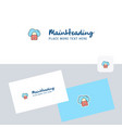 secure cloud logotype with business card template vector image