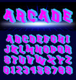 set letters and numbers 80s retro style vector image vector image