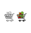 shopping cart vegetables hand drawn sketch vector image