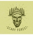 Skull-lumberjack Vintage label vector image vector image