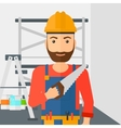 Smiling worker with saw vector image